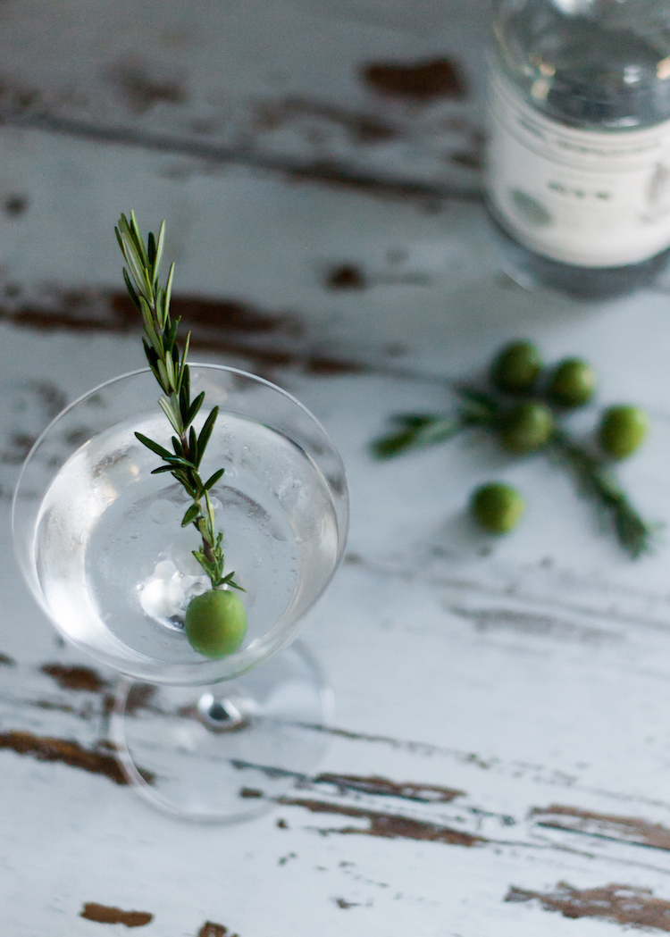 Smoked Rosemary Olive Oil Gin Martini // Craftandcocktails.co for jojotastic.com