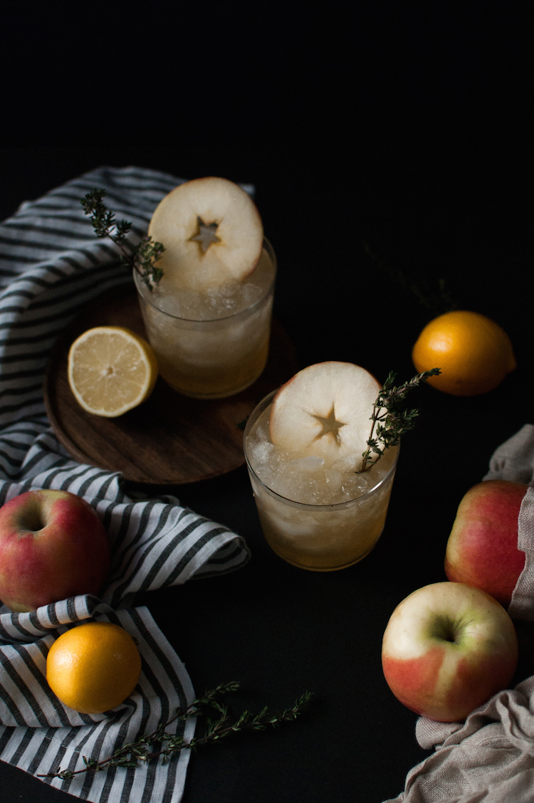 apple grilled thyme smash // craftandcocktails for @jojotastic