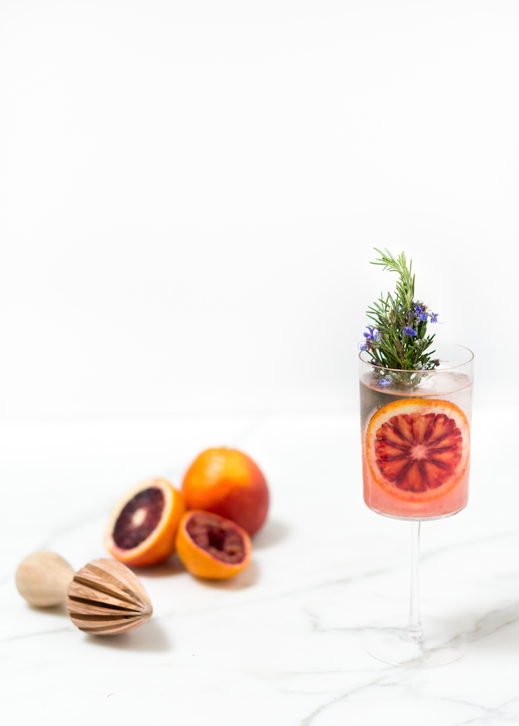 blood orange rosemary gin and tonic recipe // craftandcocktails.co