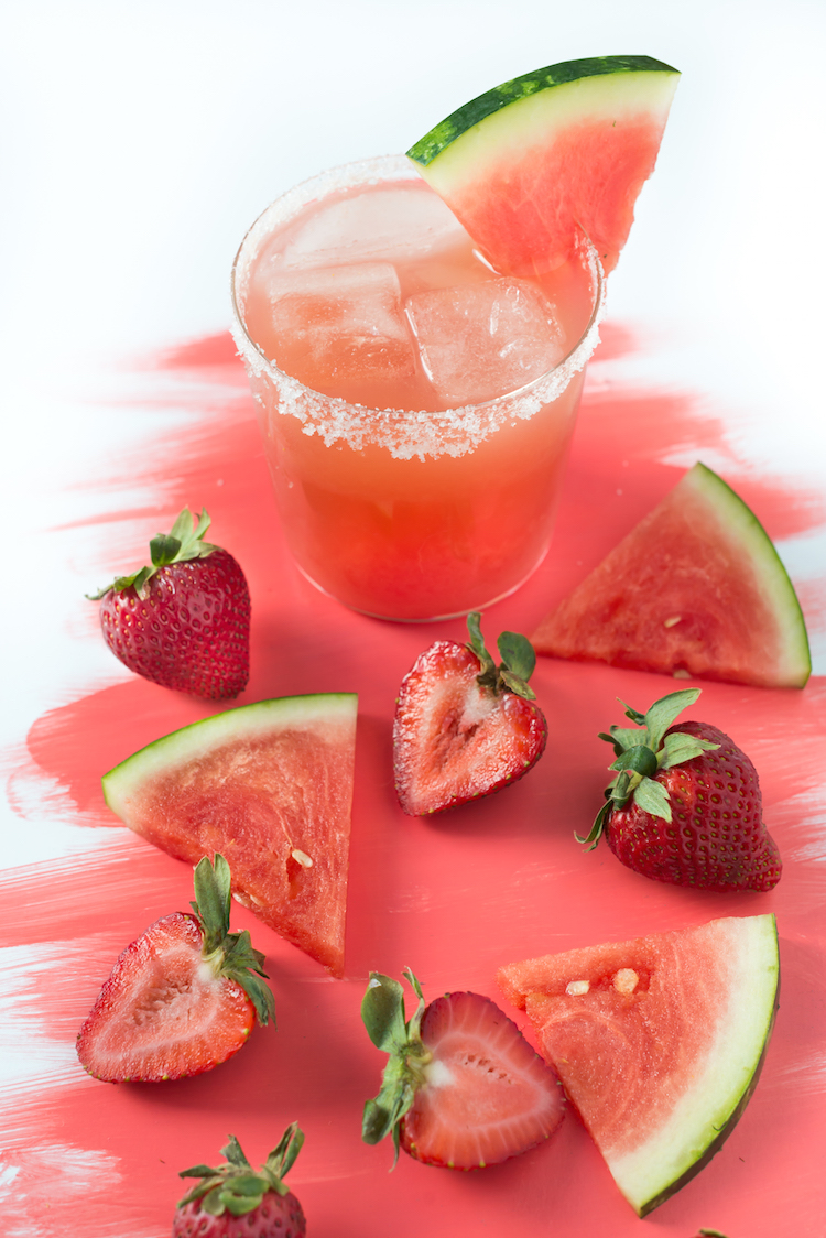 Strawberry Watermelon Margarita recipe // Craftandcocktail.co Glossary of Color Margaritas for@sugarandcloth