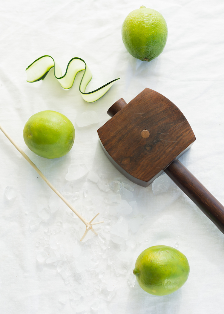 Lewis bag and mallet for Gin Cucumber and Chartreuse Swizzle // craftandcocktails.co