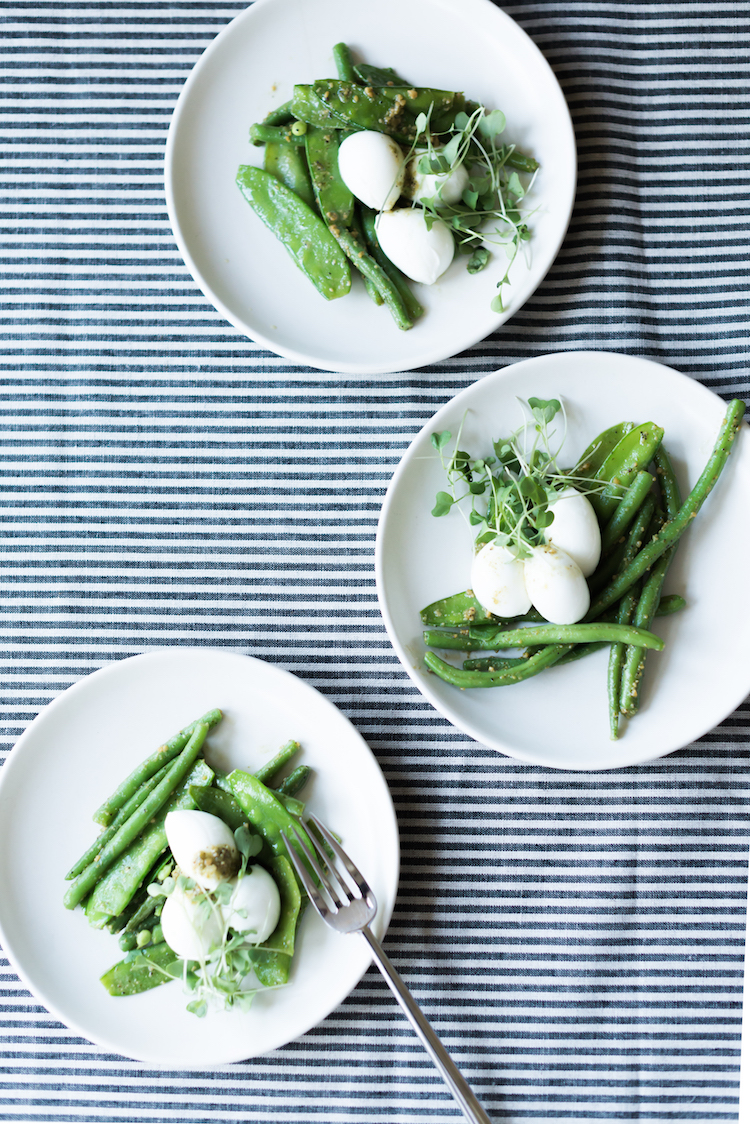 Simple Dinner Party burrata and peas // Craftandcocktails.co