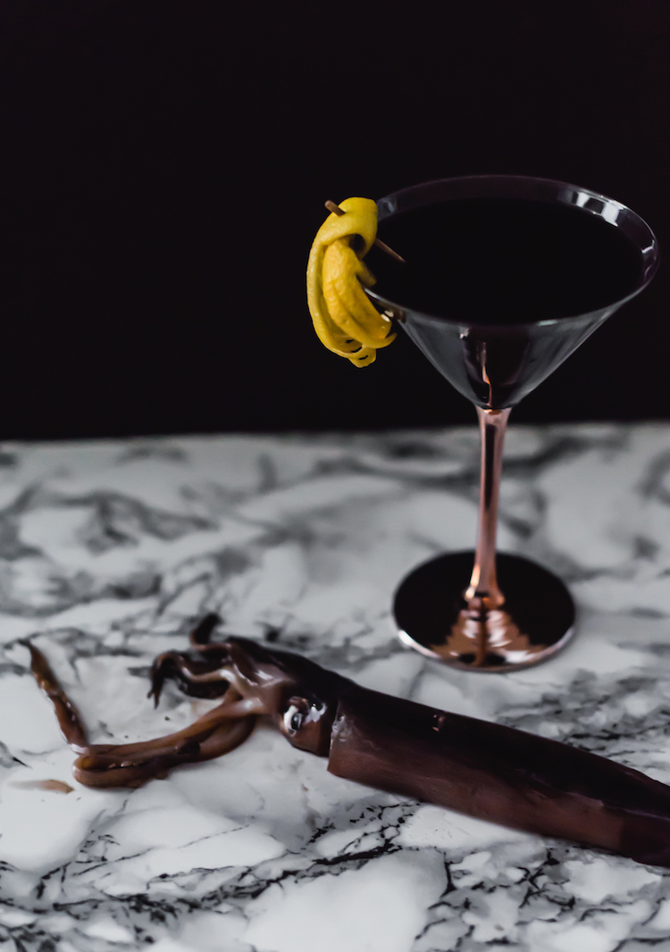 Spooky Squid Ink Martini // recipe on craftandcocktails.co