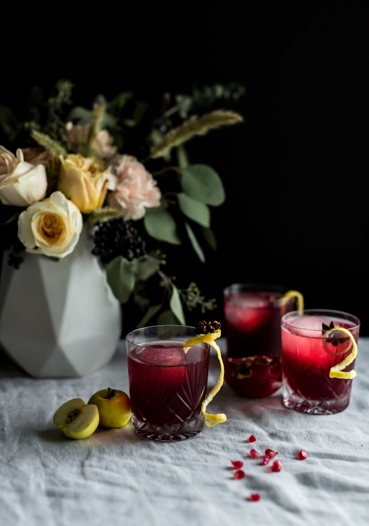 Bitter Sweet Thanksgiving cocktail with Amaro, pomegrante and apple // craftandcocktails.co