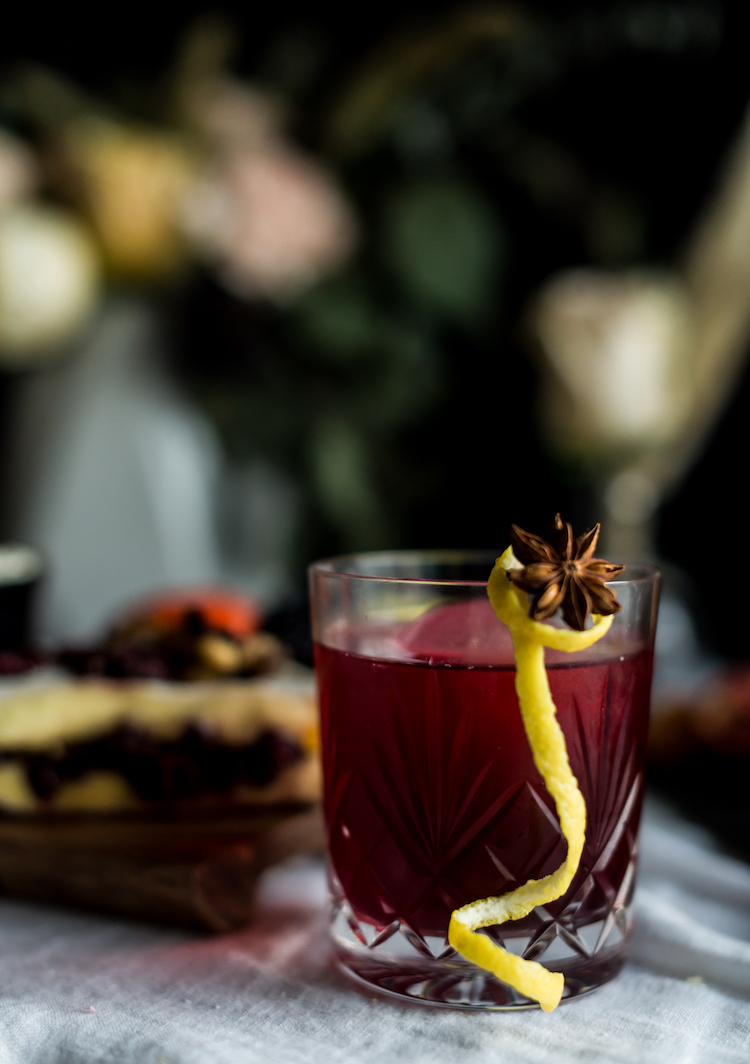 Bitter Sweet Thanksgiving cocktail with star anise garnish // craftandcocktails.co