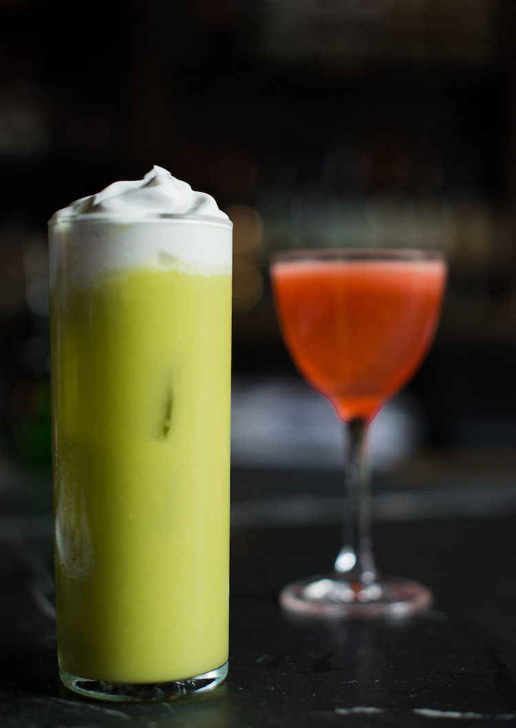 Romanism & Rebellion cocktail with avacado and coconut cream. Trick Dog for President menu. // craftandcocktails.co