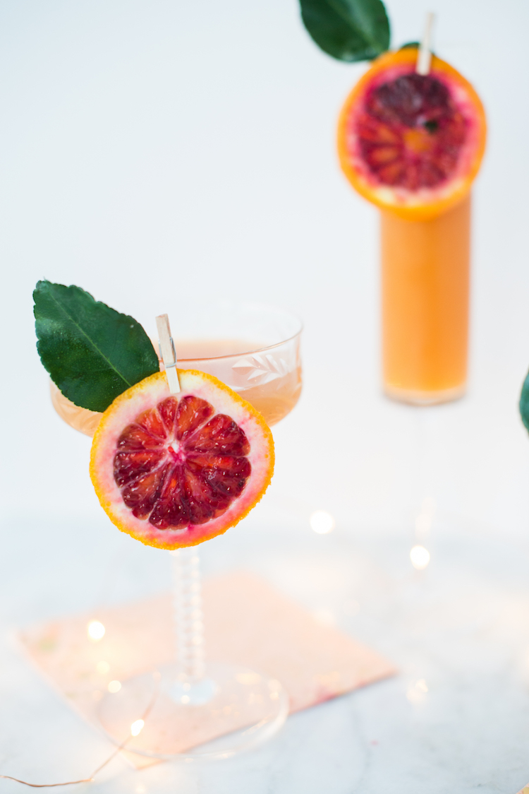 blood orange sparkler cocktail on Craft and Cocktails