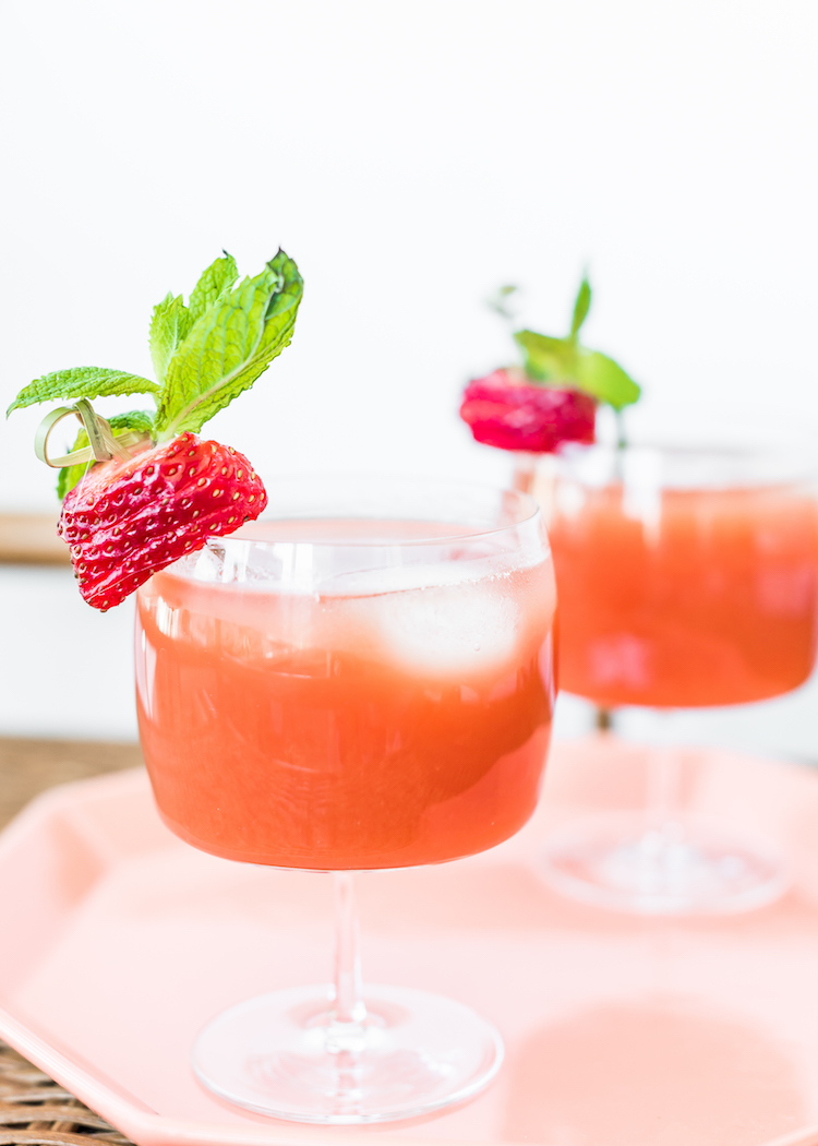 Watermelon Strawberry Aquavit Cooler | recipe on Craft & Cocktails (craftandcocktails.co)