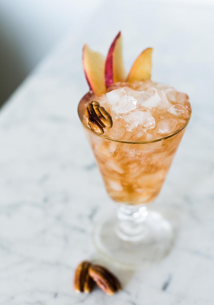 Bitter Pecan Peach Dandy with pecan orgeat cocktail | recipe on Craftandcocktails.co