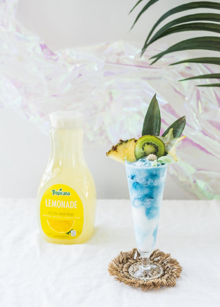 Mermaid  Colada with Tropicana Lemonade| recipe on craftandcocktails.co