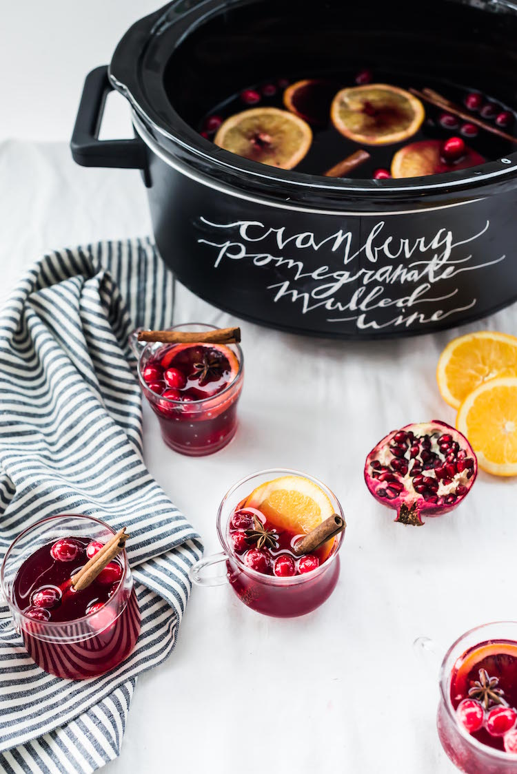 Crockpot cocktail Cranberry Pomegranate Mulled Wine | recipe on Craft & Cocktails (Craftandcocktails.co)