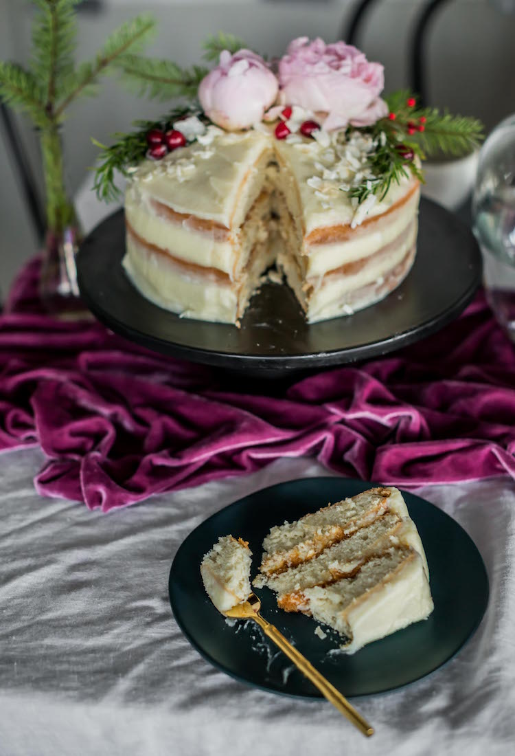 Coconut Cake with Coconut Cream Cheese and Rum Salted Caramel | recipe on Craft & Cocktails
