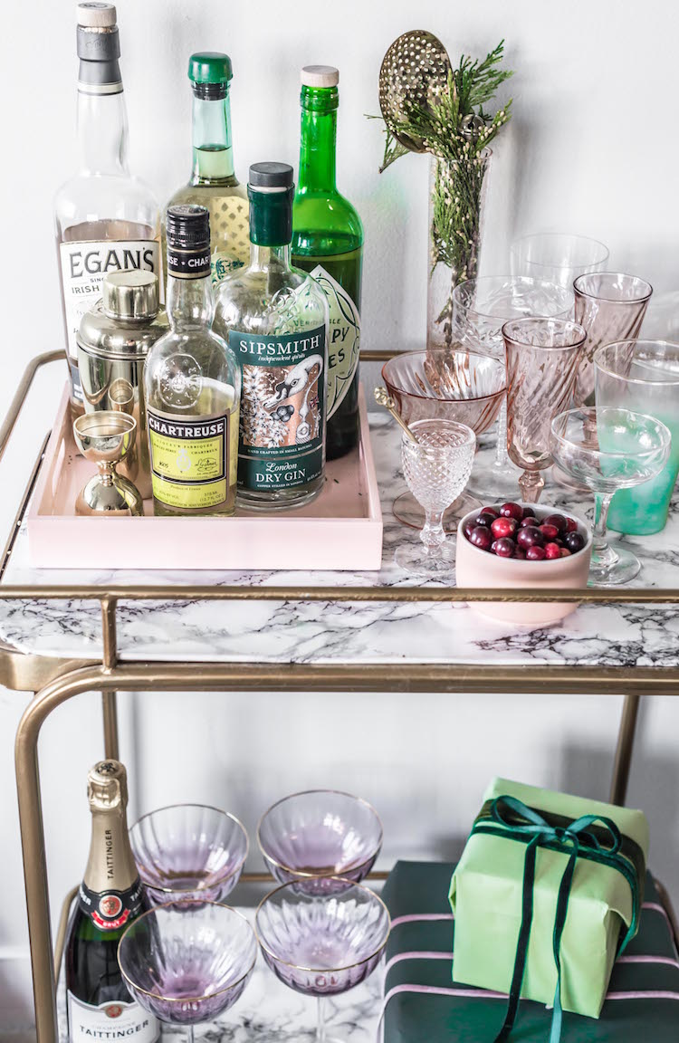 Holiday Bar Cart | Craftandcocktails.co