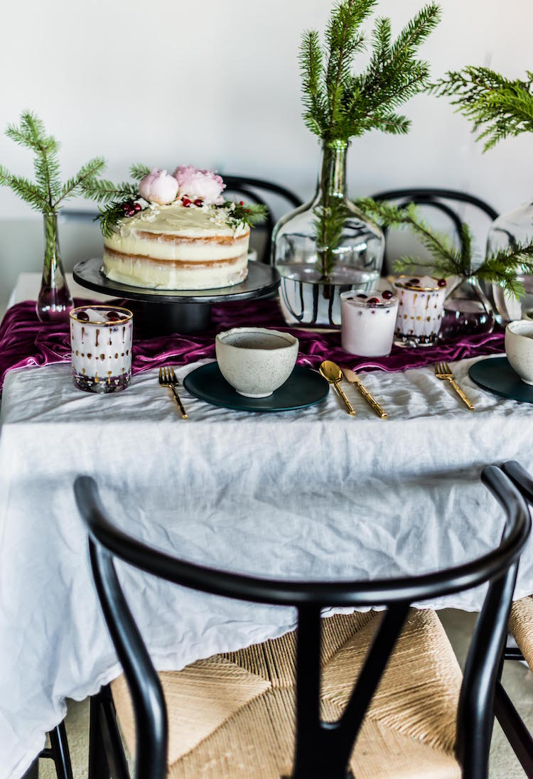 Modern Holiday Tabletop with Evergreens