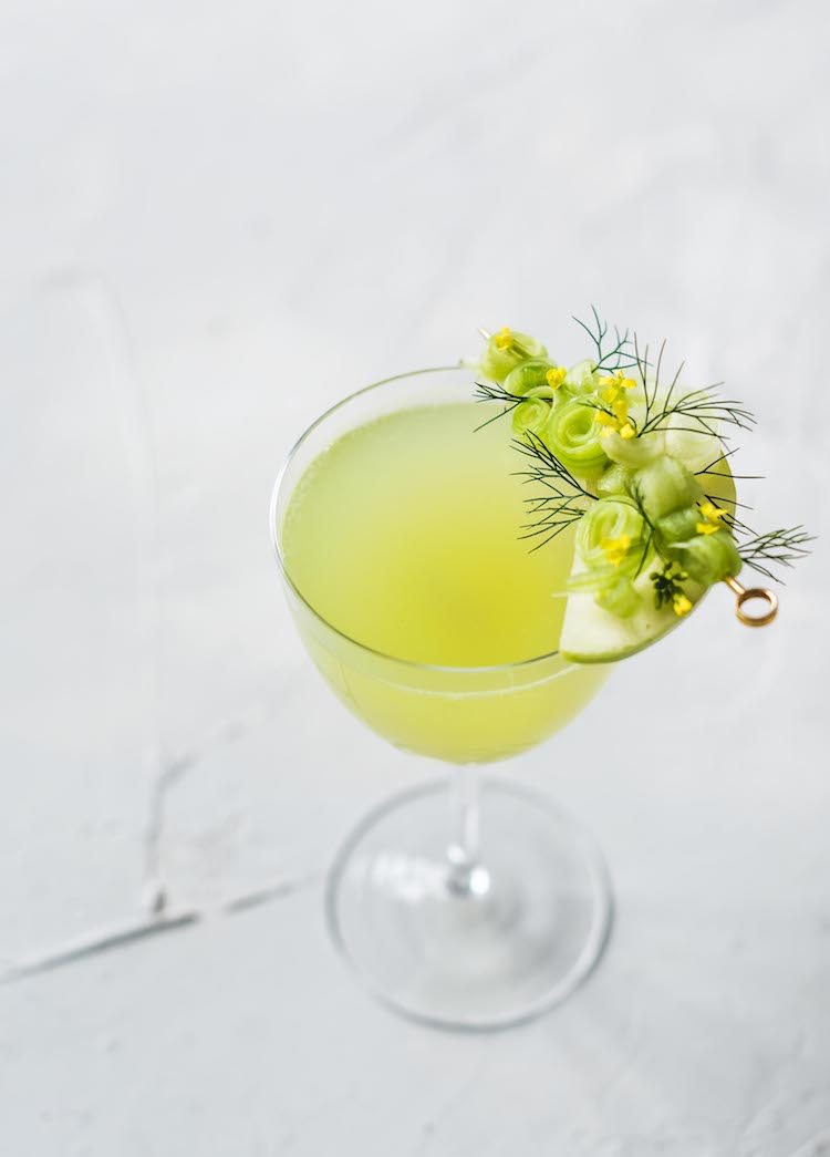Scandinavian Picnic, an Aquavit, celery, apple, cardamom savory cocktail on Craftandcocktails,co