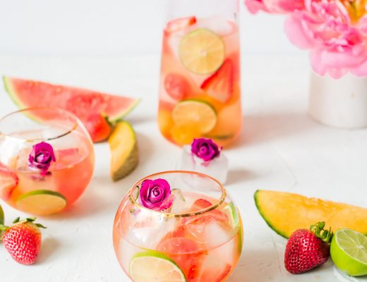 Rose Melon Rosé Sangria | recipe on Craft & Cocktails (Craftandcocktails.co)