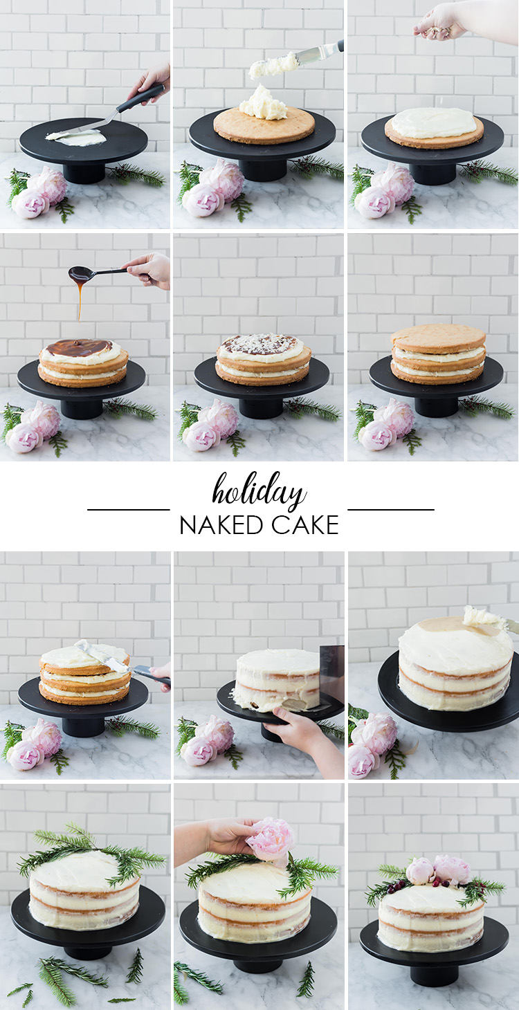 DIY Holiday Naked Cake   recipe and how on Craft & Cocktails (Craftandcocktails.co)