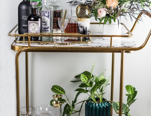 Craft & Cocktails bar cart styling