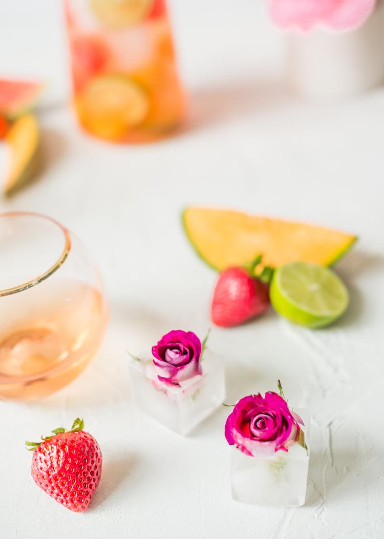 Rose Melon Rosé Sangria | recipe on Craft & Cocktails (Craftandcocktails.co)