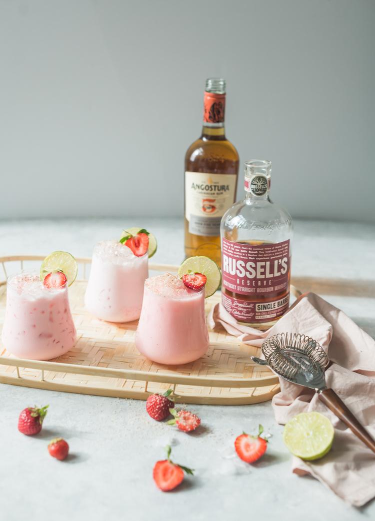 Strawberry Coconut Rum Bourbon Cooler