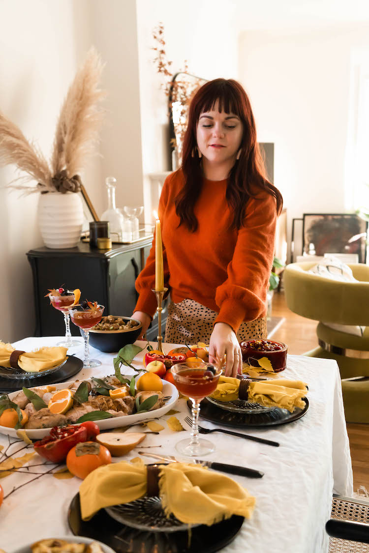Setting a jewel toned nature inspired Thanksgiving table for an intimate  holiday at home.