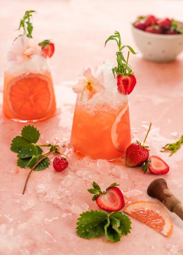 Strawberry Tarragon Smash cocktail recipe