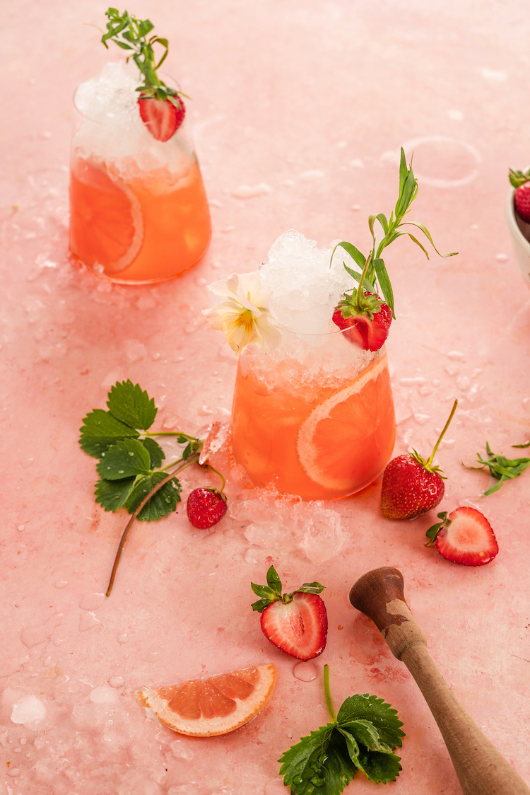 Strawberry Tarragon Smash with strawberries , apple cider vinegar and herbs